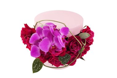 red roses and pink orchid flowers bouquet arrange in gift box isolated on white