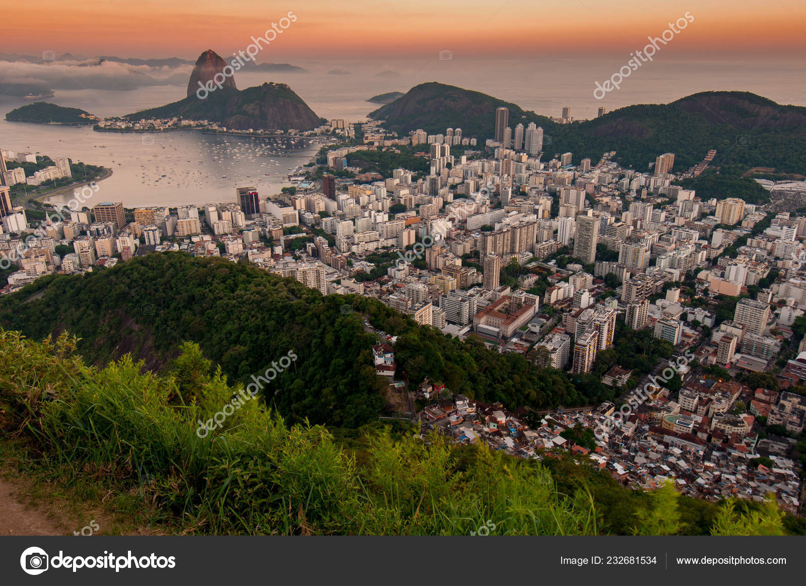 Ansicht Der Favela Rocinha Bei Sonnenaufgang Mit Stadtteil Ipanema
