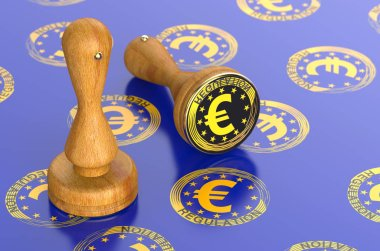 Office stamp Regulations with the symbol of the European Union concept