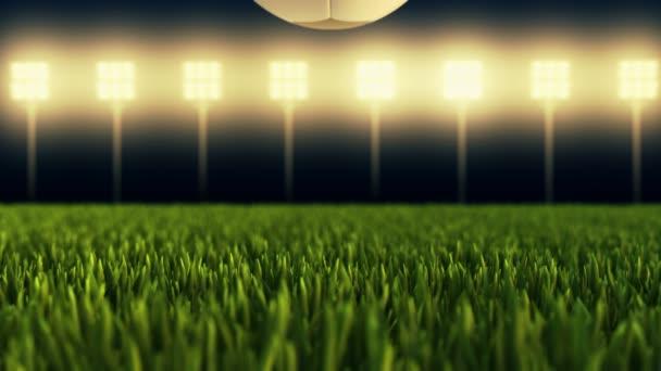 Soccer ball - football stadium in 4K animation on illuminated stadium