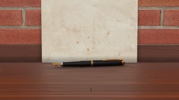 Old letter paper with a fountain pen on a wooden floor. 4K UHD 3D animation template.