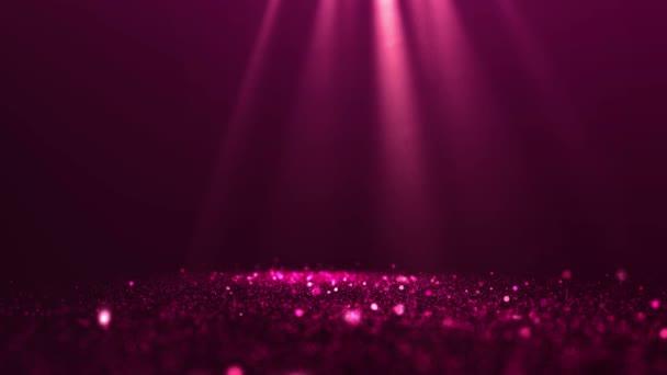Csillámpor részecskék rubin színű spotlámpák és a por elmosódott animált háttér.