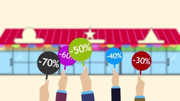 Speciální nabídka, prodej, Velká sleva procento. Animované nákupní pozadí.