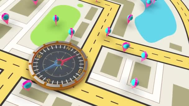 Virtual magnetic compass with navigation map