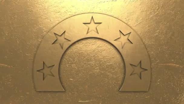 Első helyezés és díjak öt arany csillag animáció 4k Uhd