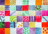 Patchwork quilt. Set of colorful prints patterns watercolor drawing