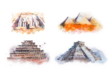 Watercolor drawing most famous buildings, architecture, sights of different countries. Abu Simbel, Great Temple of Ramesses, Giza Pyramids, Queens Pyramids, Chichen Itza, Temple of Kukulkan pyramid of
