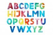 Fotografie Colorful watercolor aquarelle font type handwritten hand draw abc alphabet letters.