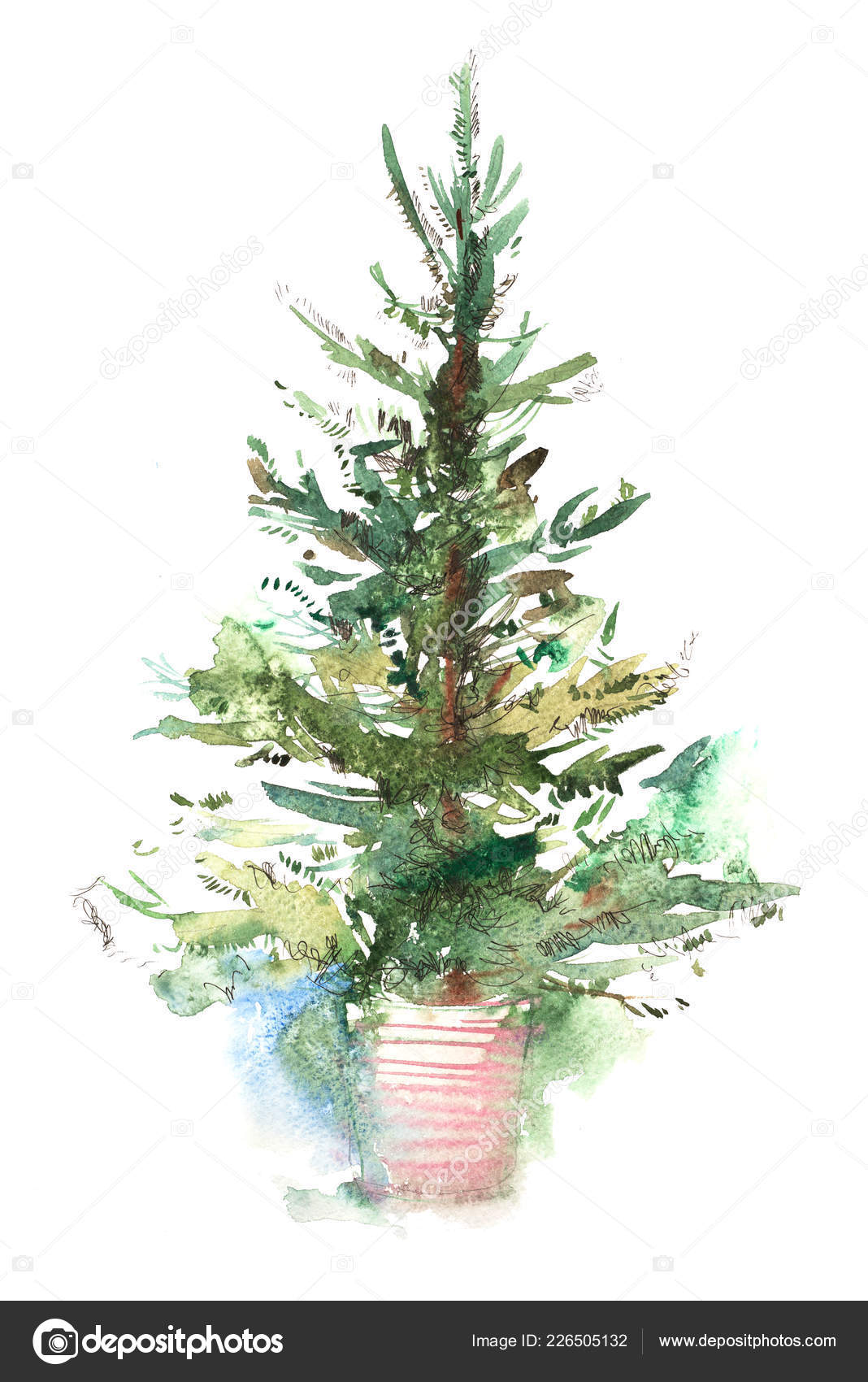 Decorated Christmas Tree New Year Watercolor Illustration Water
