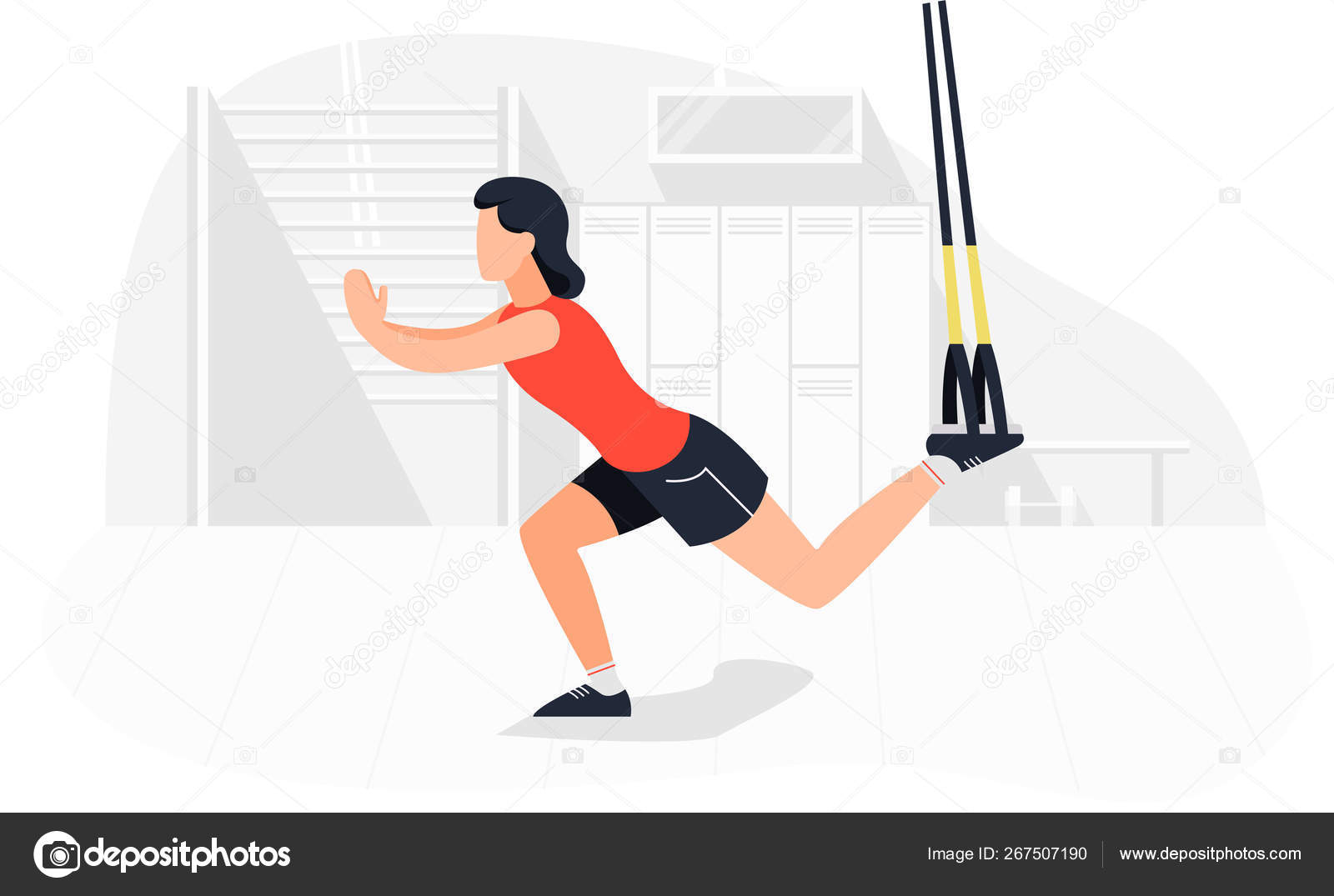 Fit woman working out on trx doing bodyweight exercises  Fitness