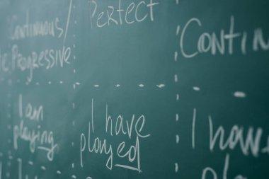 Learn english grammar. Chalkboard, school, class, lesson.