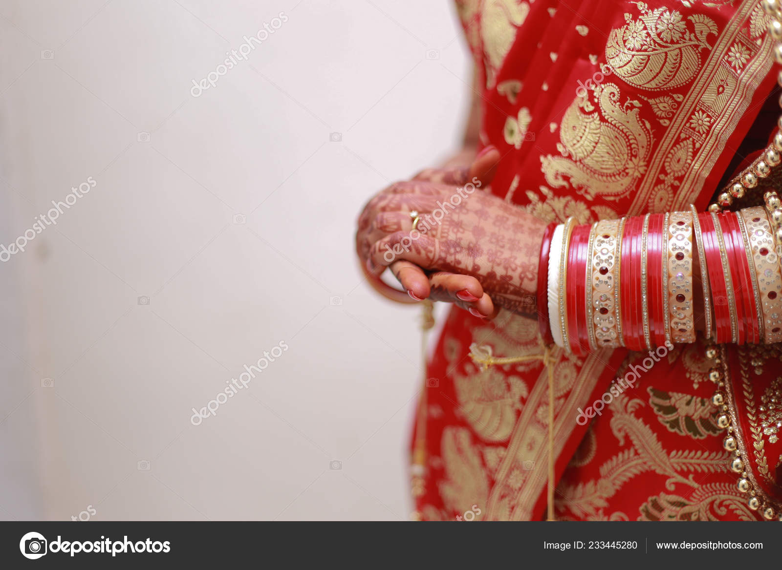 Indian Bengali Punjabi Bride Banarasi Saree Holding Hands