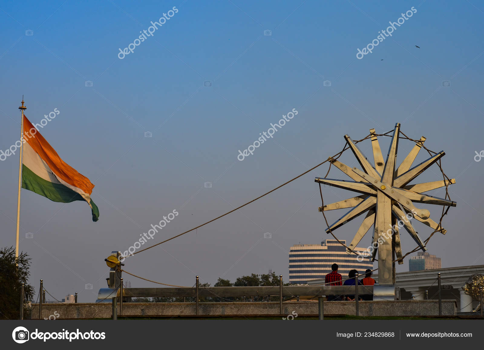 Giant Spinning Wheel Backdrop Waving Indian Tricolor