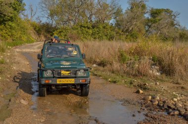 offroad gypsy vehicle crossing muddy waters in forest lands of Jim Corbett tiger reserve national park