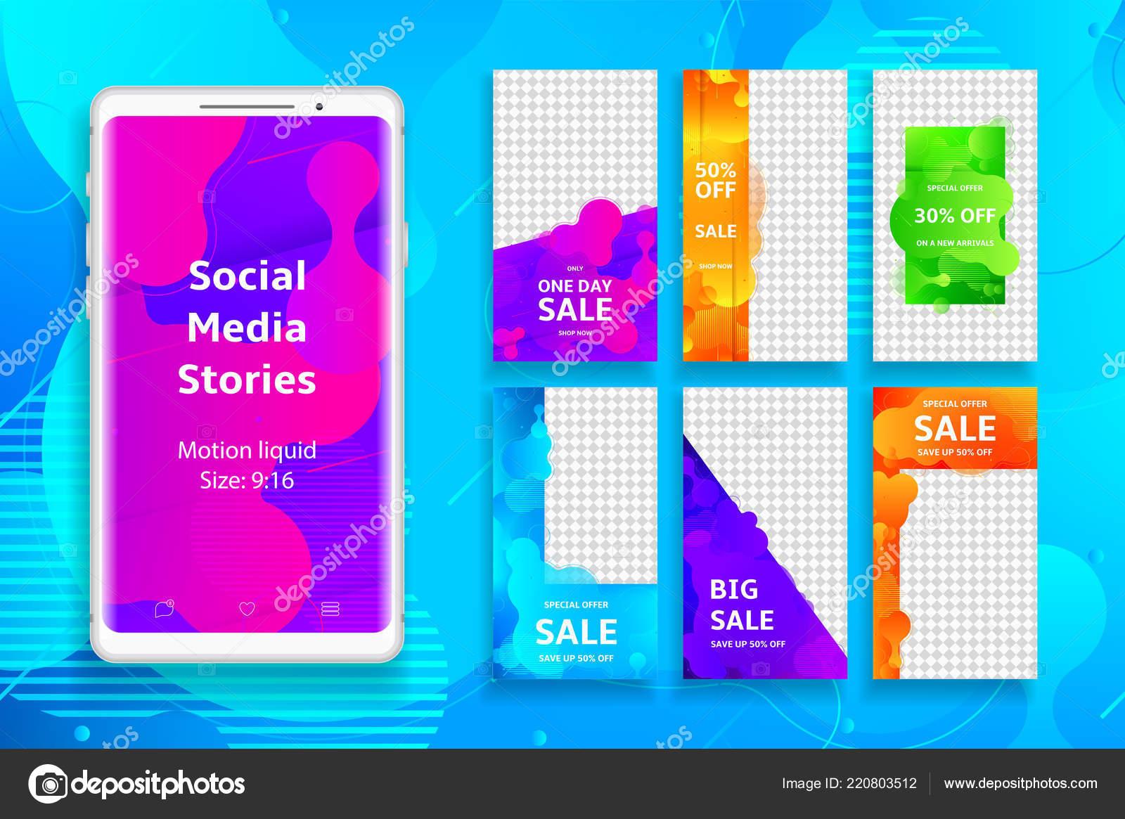 8aac0cfa3 Sociální Média Příběhy Šablona Sada Upravitelných Článků Pro Promo Značky–  stock ilustrace