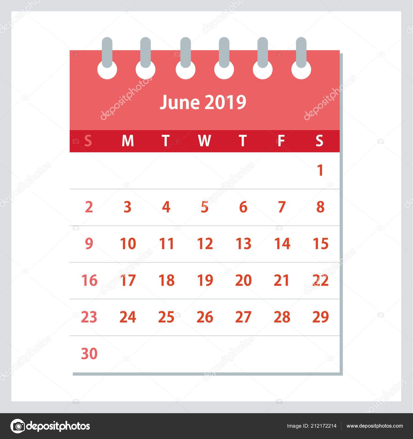 Semana Calendario.Hoja Calendario Junio 2019 Plantilla Diseno Calendario Mensual