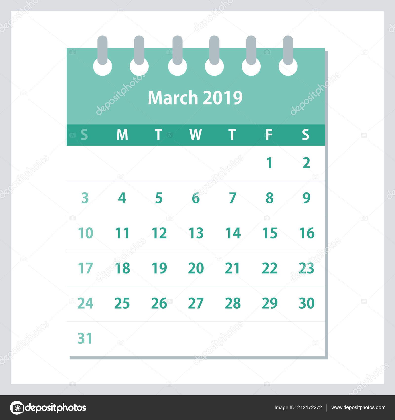Calendario Numero Settimana 2019.Marzo 2019 Calendario Foglia Modello Disegno Calendario