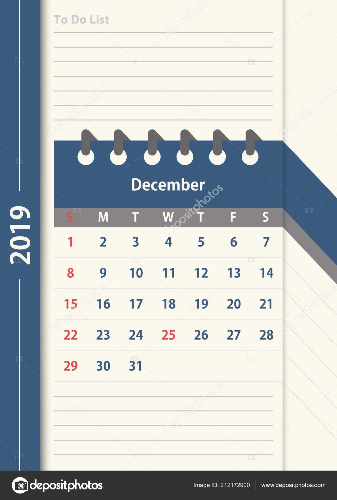 Calendario Mese Dicembre 2019.Calendario Dicembre 2019 Modello Progettazione Calendario