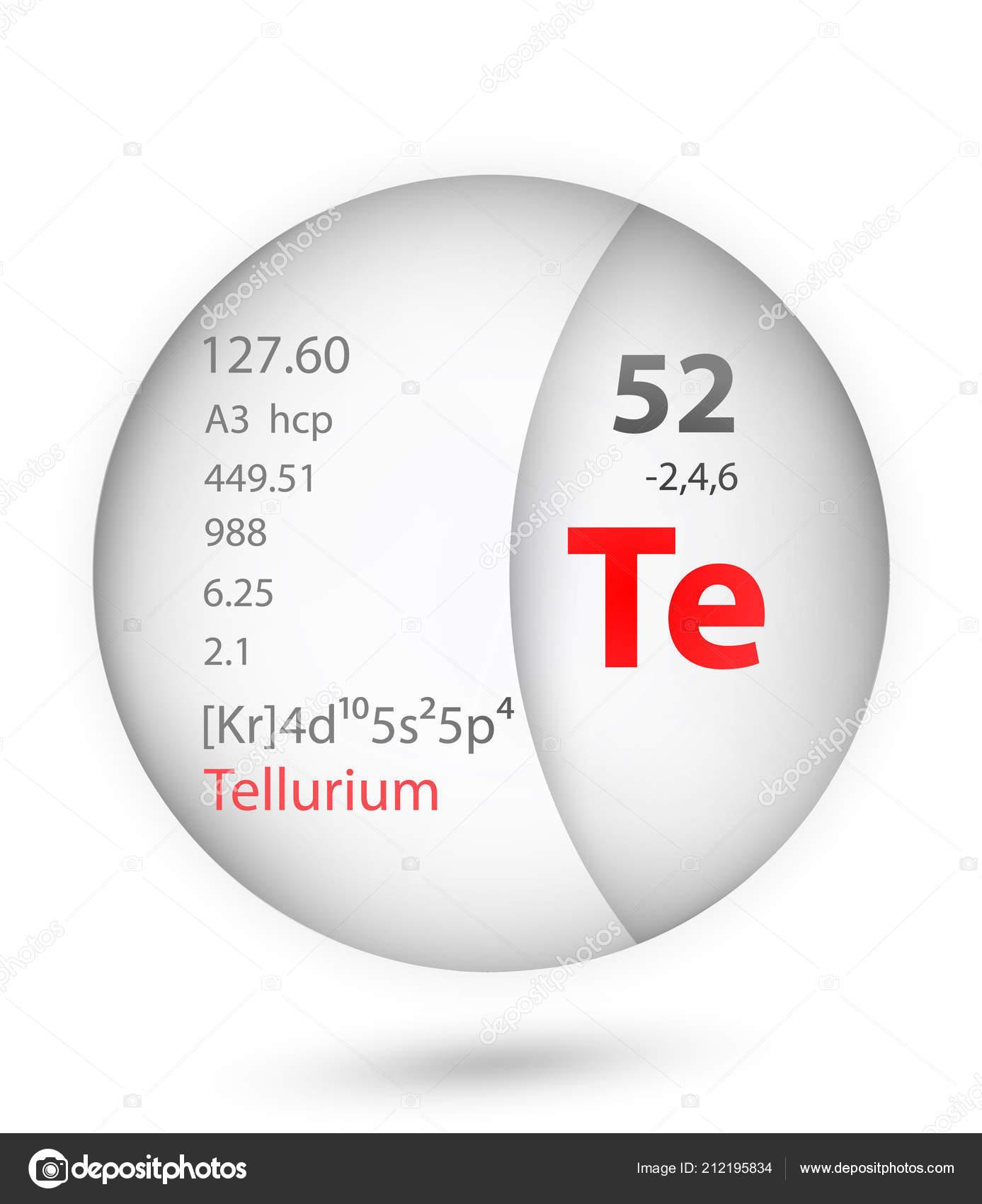 Tellurium Icon Badge Style Periodic Table Element Tellurium Icon One
