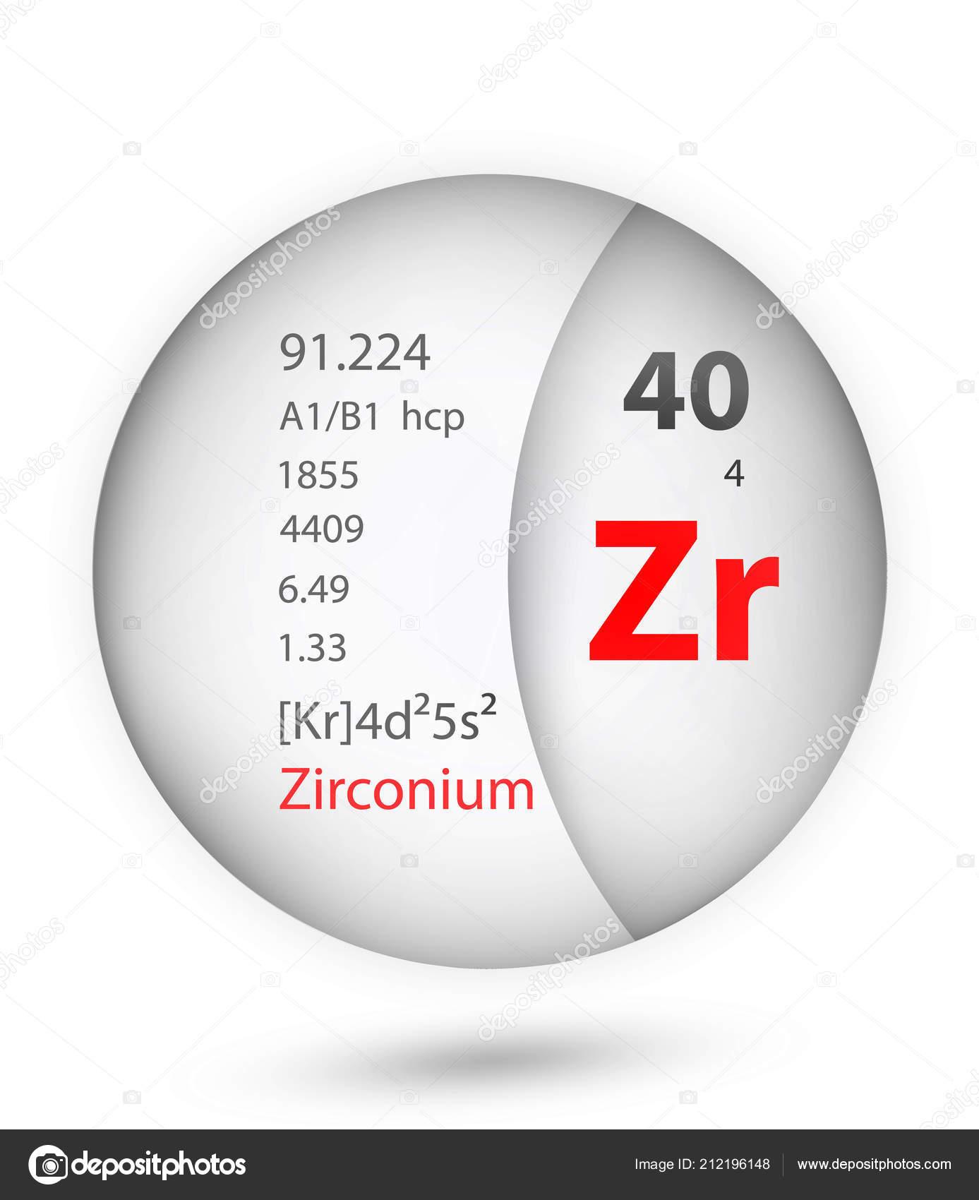 Zirconium Icon Badge Style Periodic Table Element Zirconium Icon One