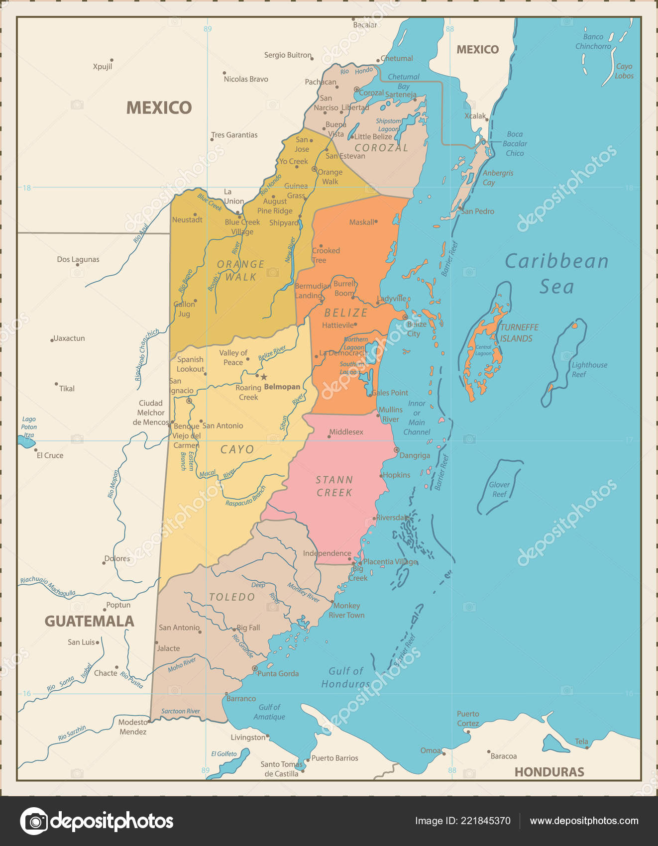 Belize Political Map.Belize Political Map Vintage Color Detailed Political Map Belize