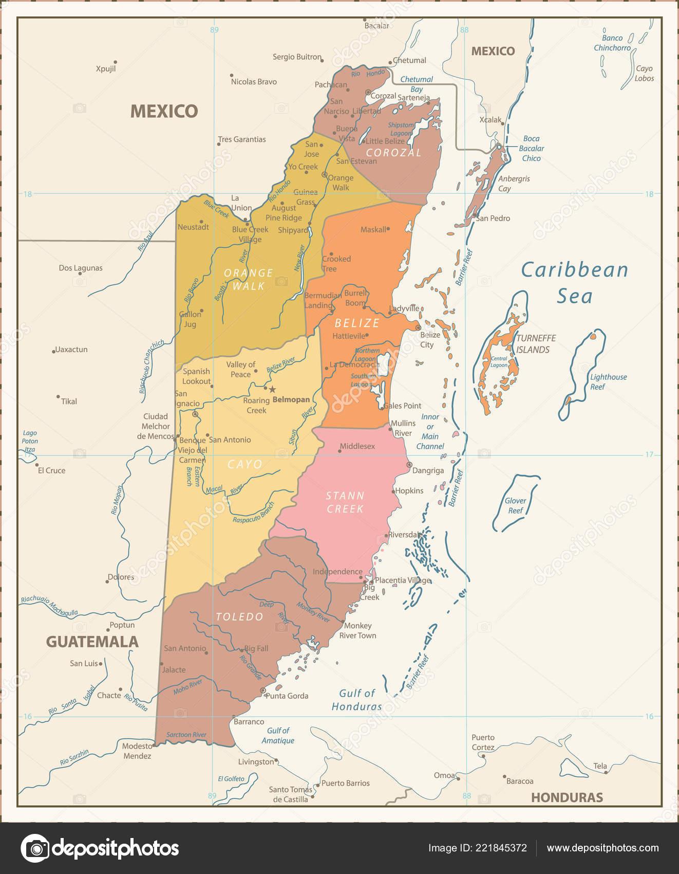 Political Map Of Belize.Belize Political Map Retro Color Detailed Political Map Belize