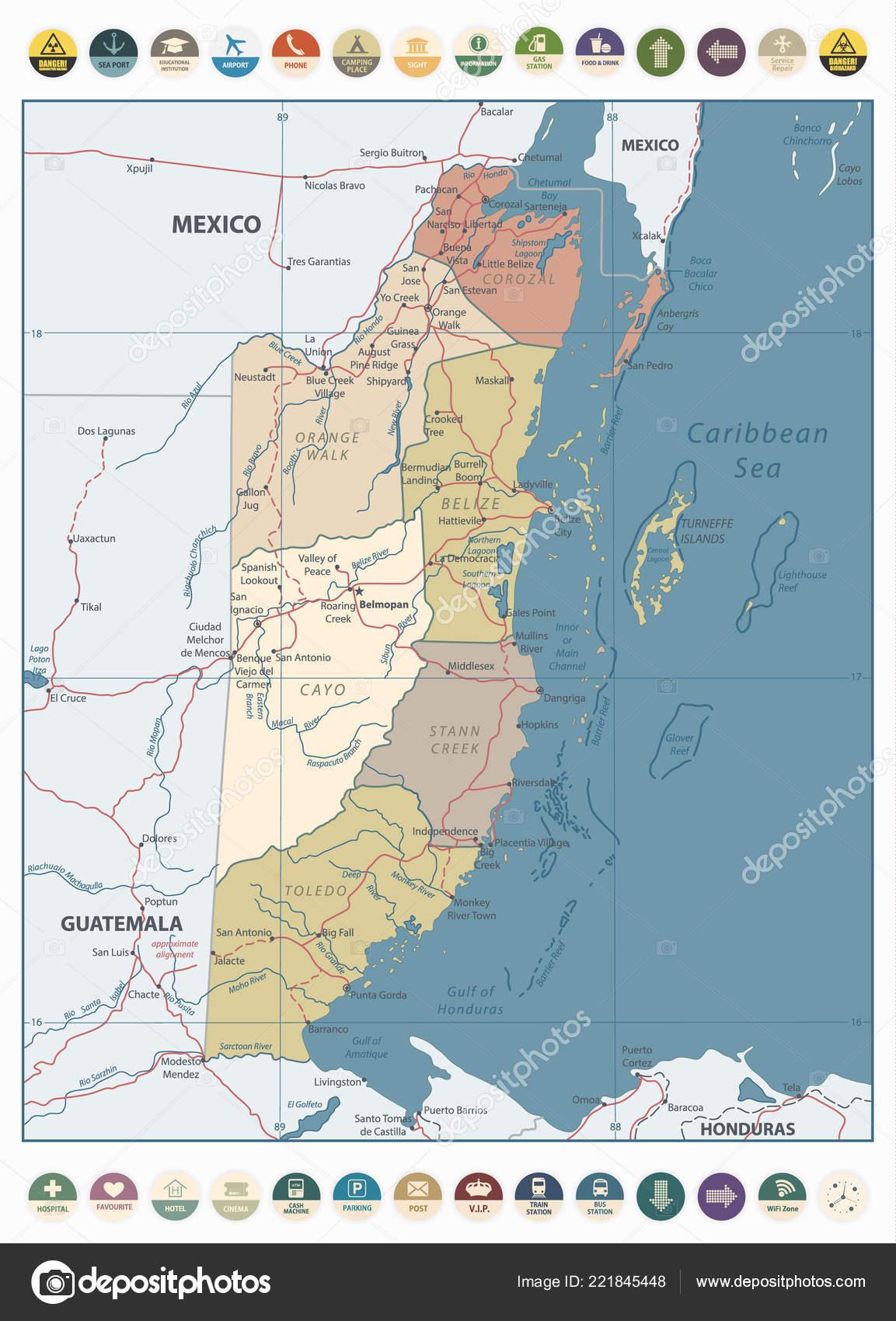 Belize Vintage Color Map Flat Icons Detailed Political Map Belize Stock Vector C Livenart 221845448