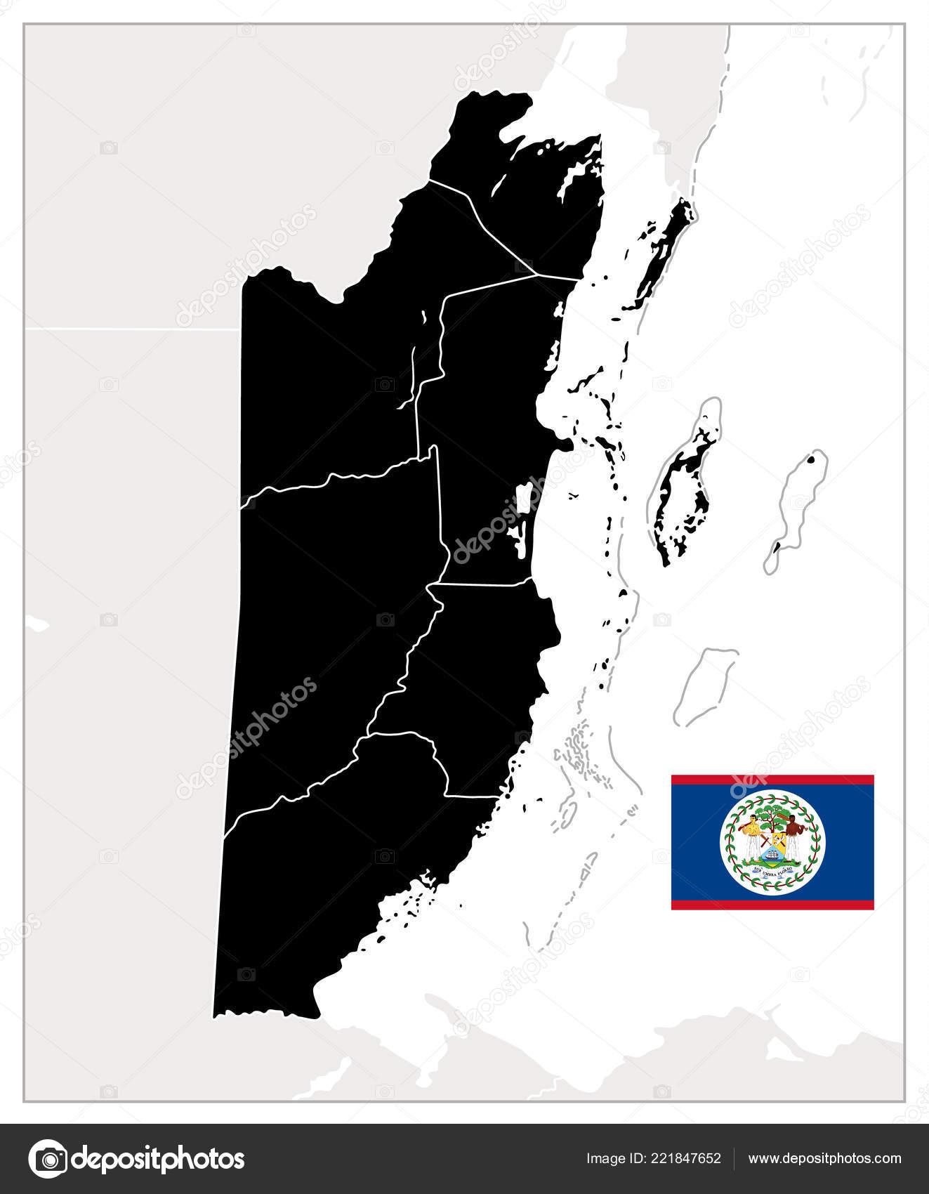 Belize Blank Black Map Detailed Map Belize Text Vector Illustration ...