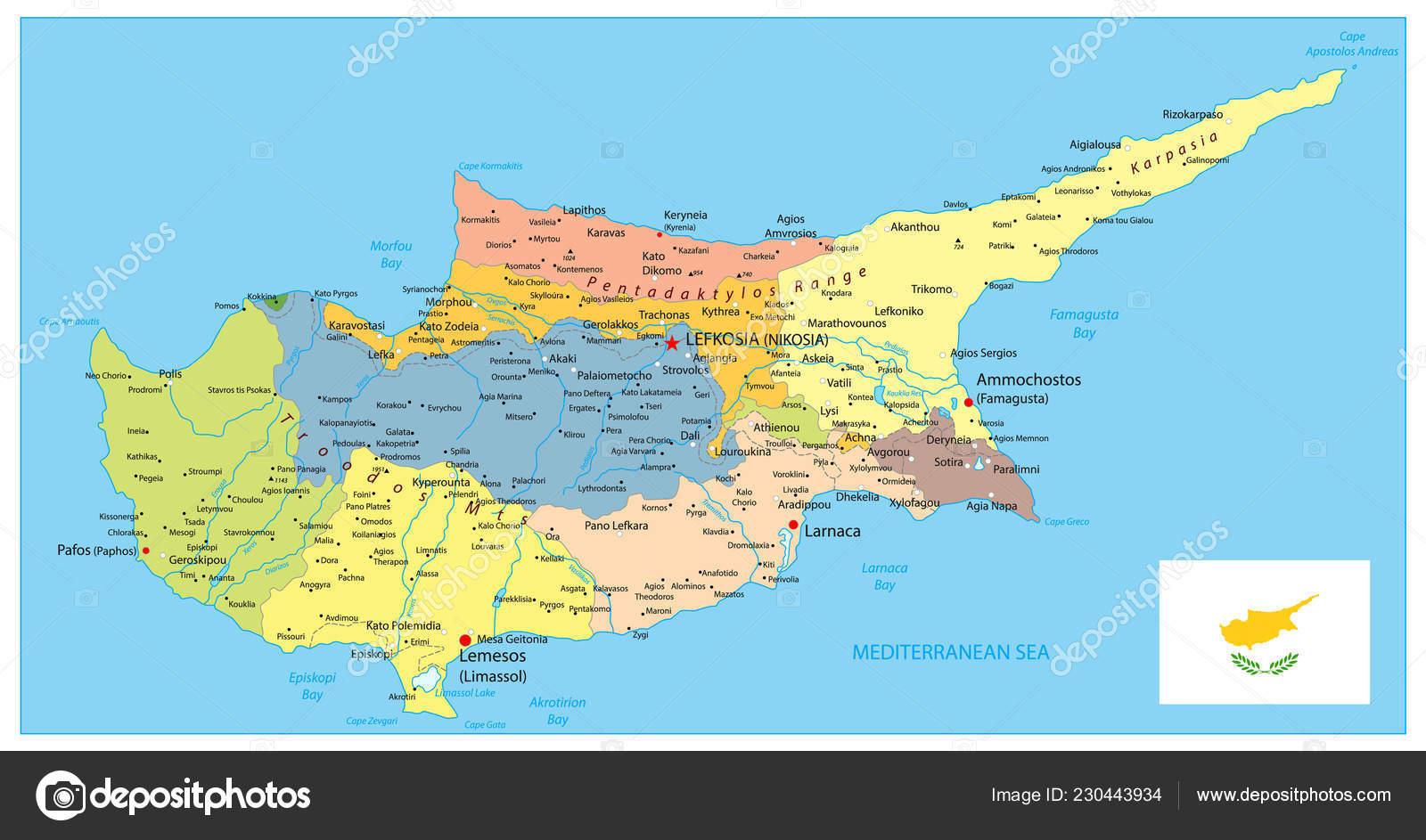 Karta Famagusta Cypern.Cypern Politiska Karta Detalj Administrativa Vektor Karta Over