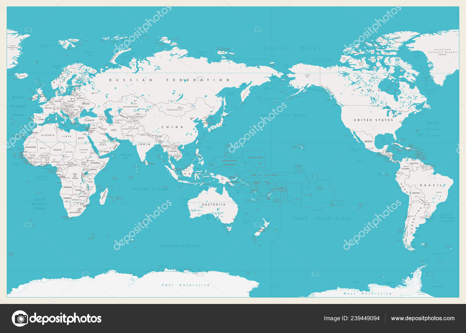 World Map Pacific Centered Old Colors Borders Countries Cities ...