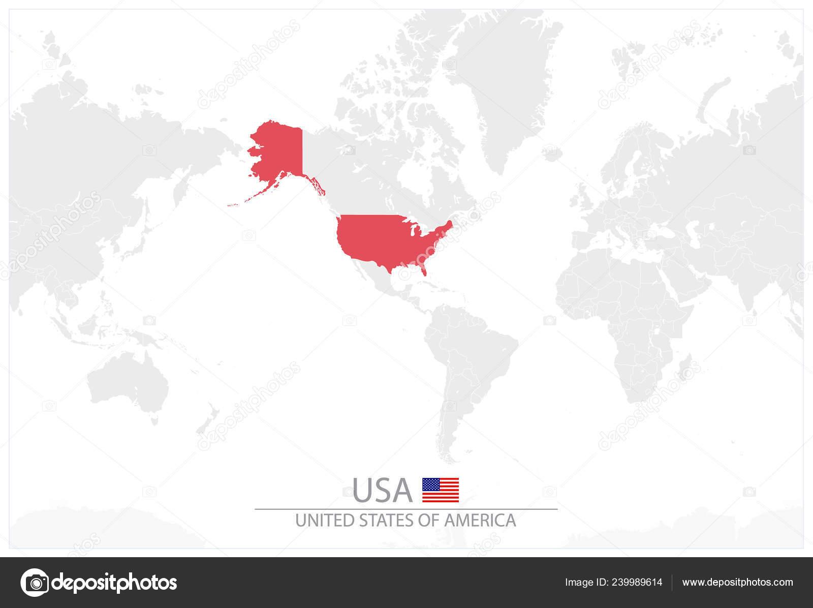 Carte Du Monde Usa.Carte Mondiale Avec Identification Des Usa Carte Des Etats