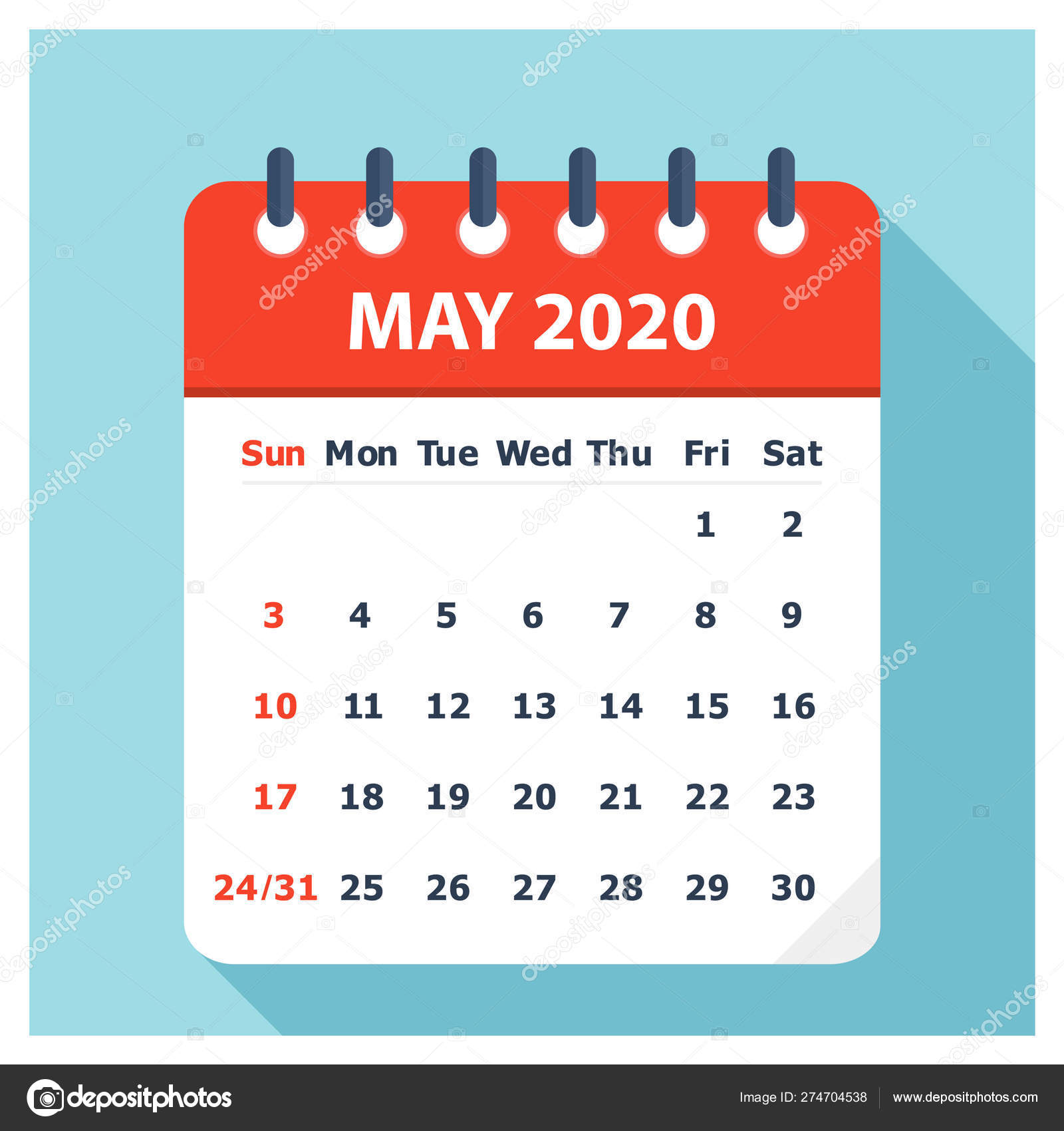 May 2020 - Calendar Icon - Calendar design template — Stock