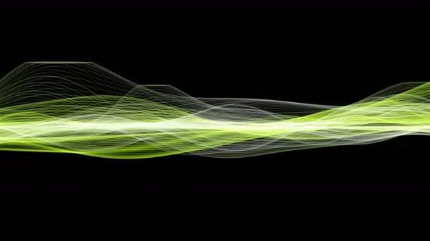 Futuristic eco video animace s vlnou objektu a blikající světla v pomalém pohybu, 4096 × 2304 smyčka 4k