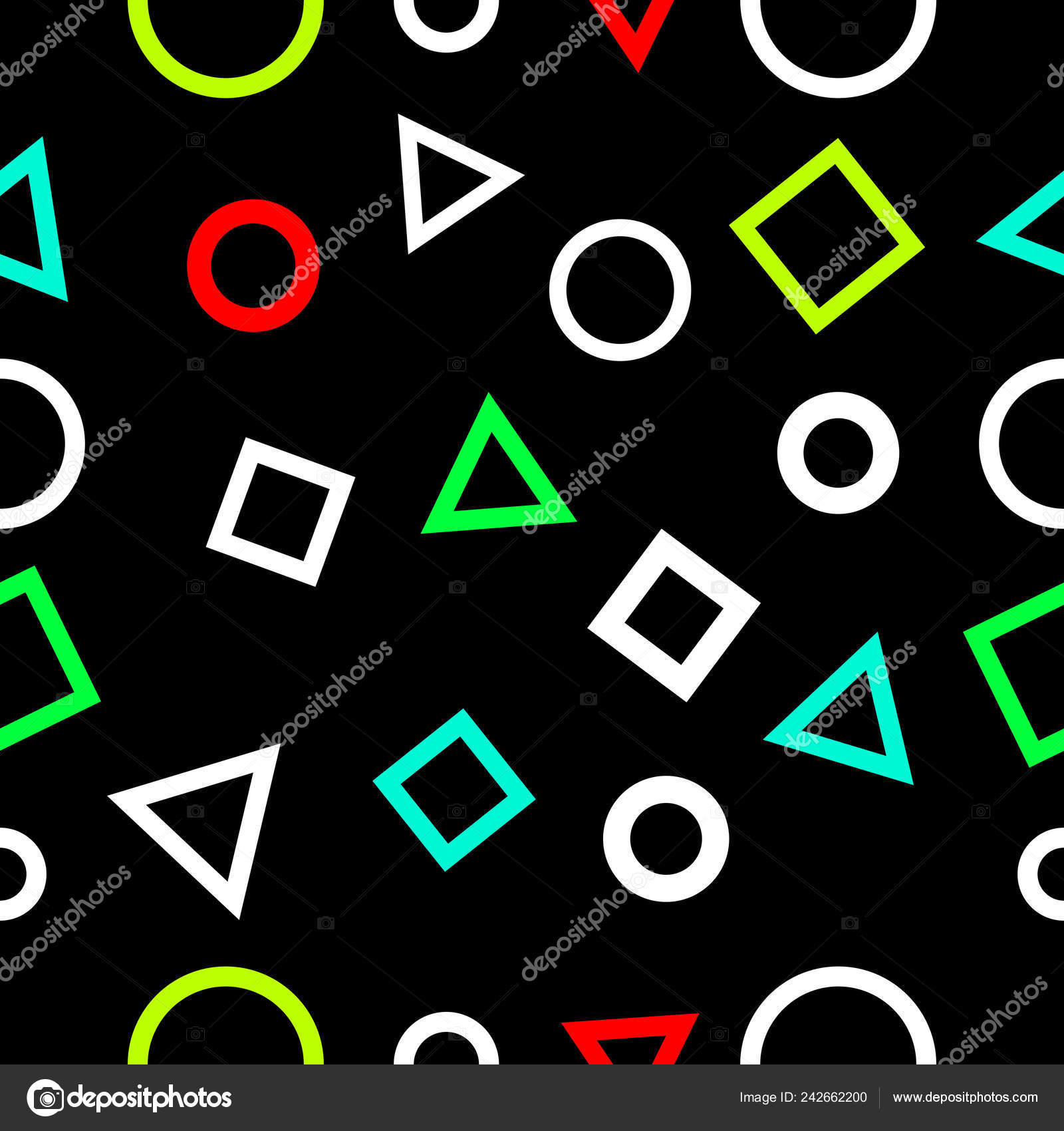 Squares Triangle Circles Geometry Seamless Pattern Neon