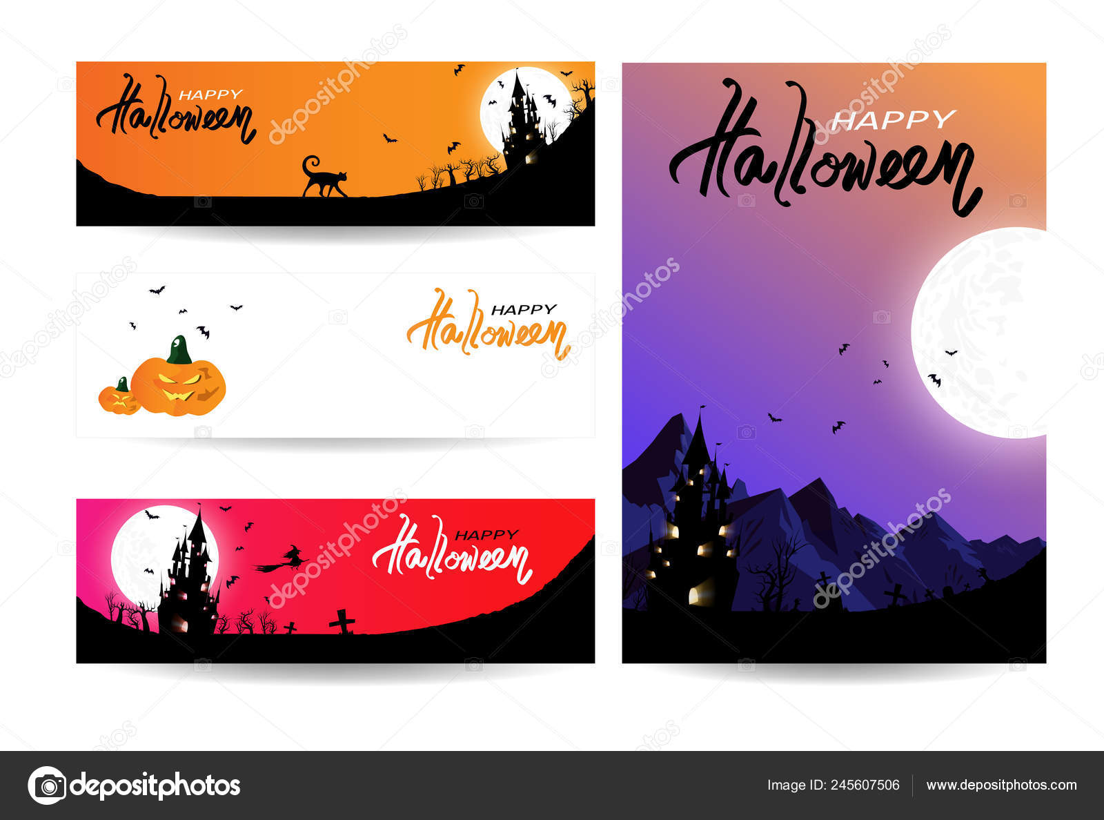 Happy Halloween Card Collection Banner Holiday Invitation Concept
