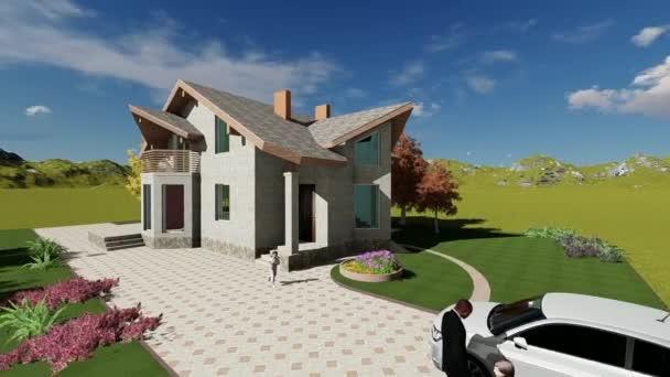 Projekt individuální bytového domu s podkrovní prostor na malém pozemku půdy. 3D vykreslování