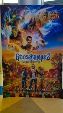 KUALA LUMPUR, MALAYSIA - NOVEMBER 5, 2018: Goosebumps 2: Haunted Halloween movie poster. The movie is about two young friend find a magic book that brings a ventriloquist's dummy to life