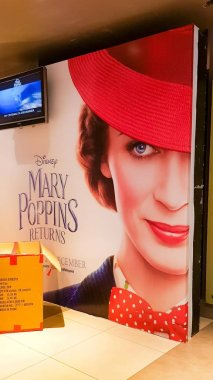 KUALA LUMPUR, MALAYSIA - NOVEMBER 30, 2018: Mary Poppins Returns movie poster. The movie starring Emily Blunt as Marry Poppins
