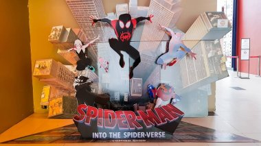 KUALA LUMPUR, MALAYSIA - DECEMBER 18, 2018: Spider-Man: Into the Spider-Verse movie poster. This movie storyline is about Miles Morales becomes the spider-man and crosses path with his counterparts