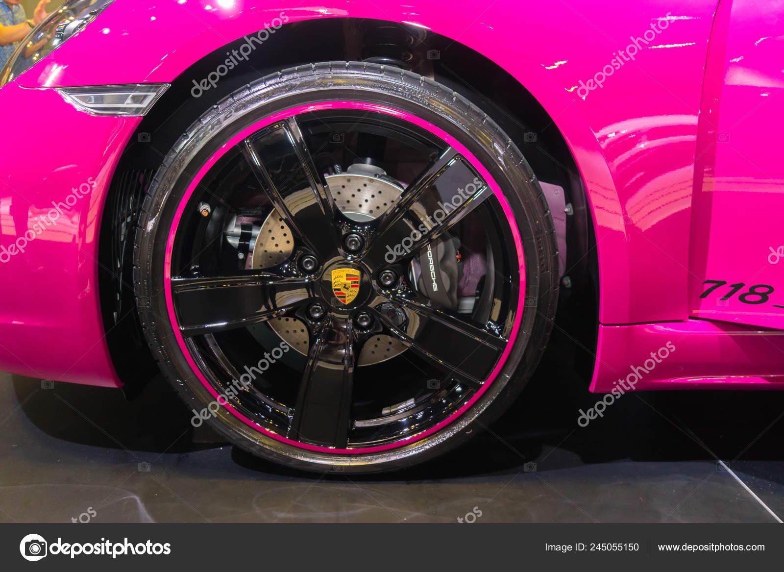 Singapore Januari 2019 Velgen Banden Van Porsche 718 Roze
