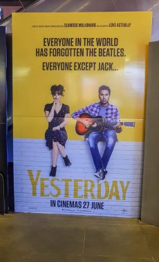 Yesterday movie poster, is a British romantic comedy film about a musician who think he is a members of The Beatles