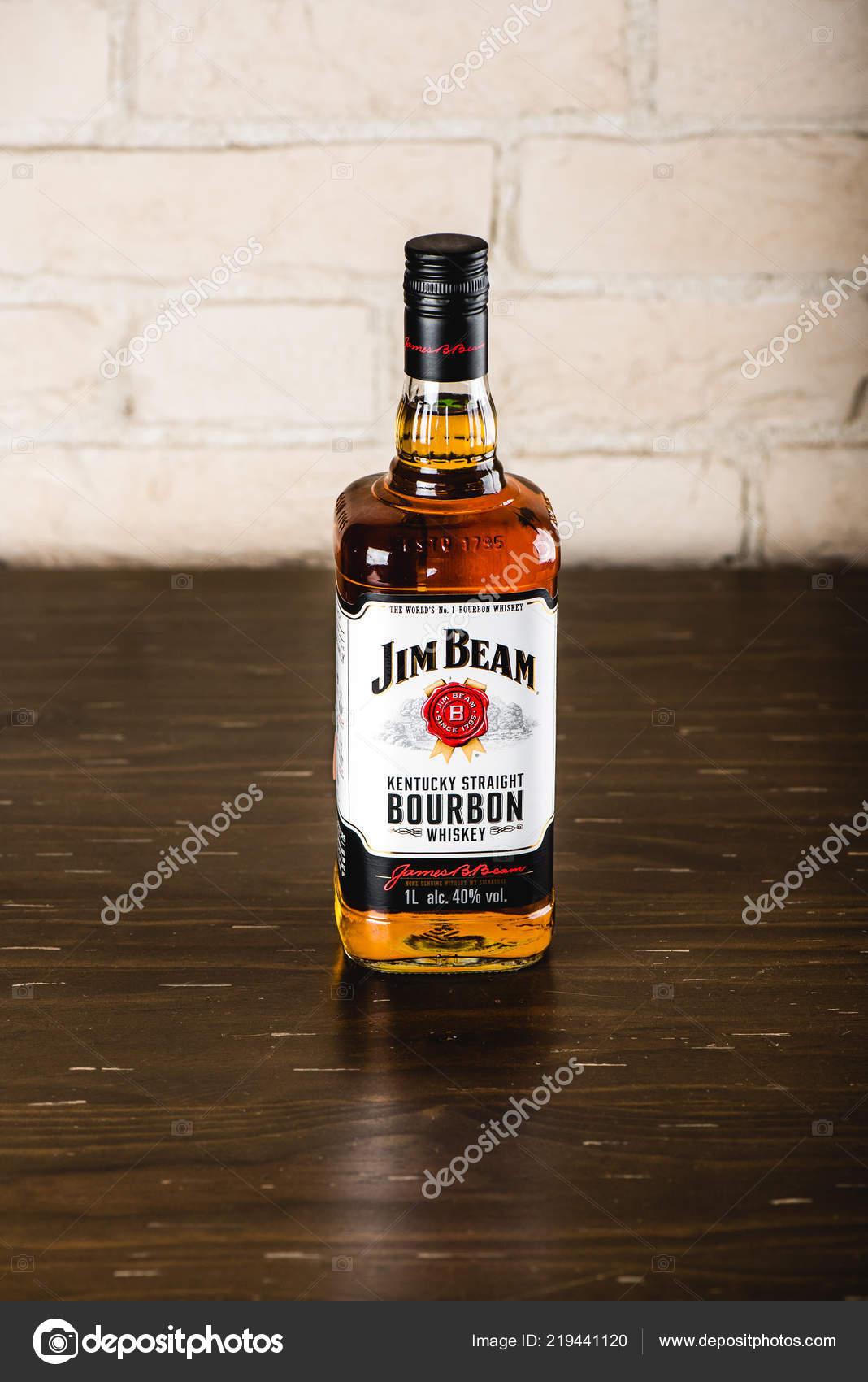 jim beam bourbon bottle wooden table jim beam famos brand stock