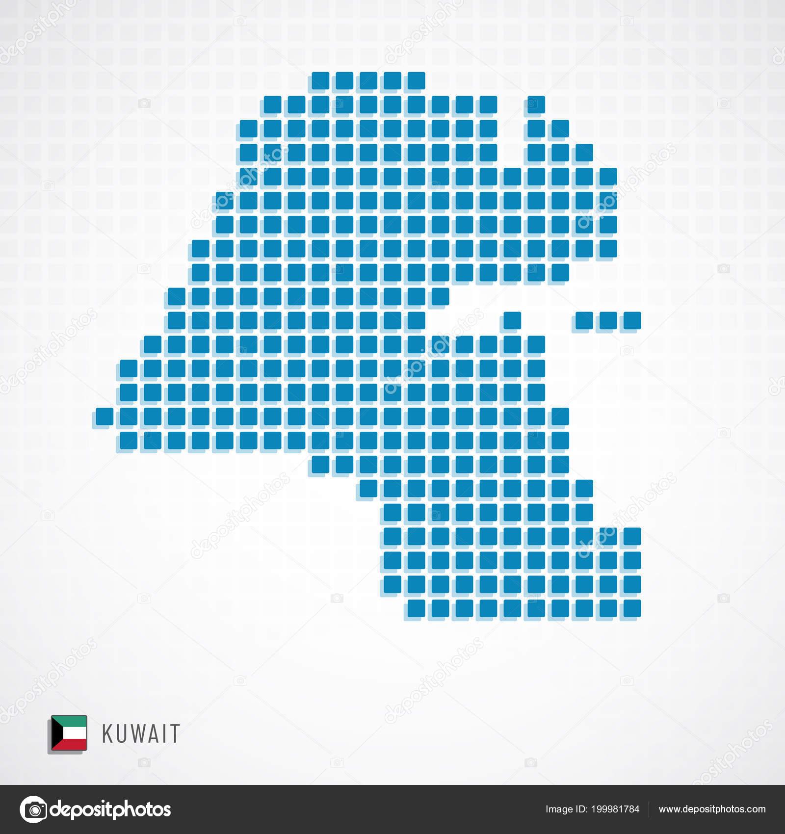 Vector Illustration Kuwait Map Dotted Basic Shape Icons Flag ...