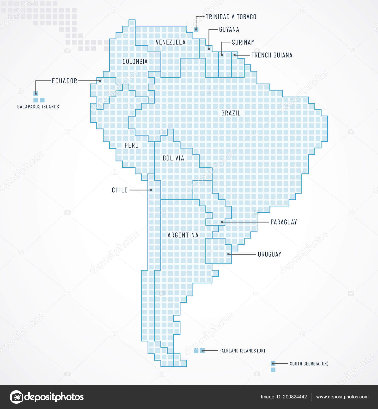 Digital Map South America Continent State Borders Names — Stock ...