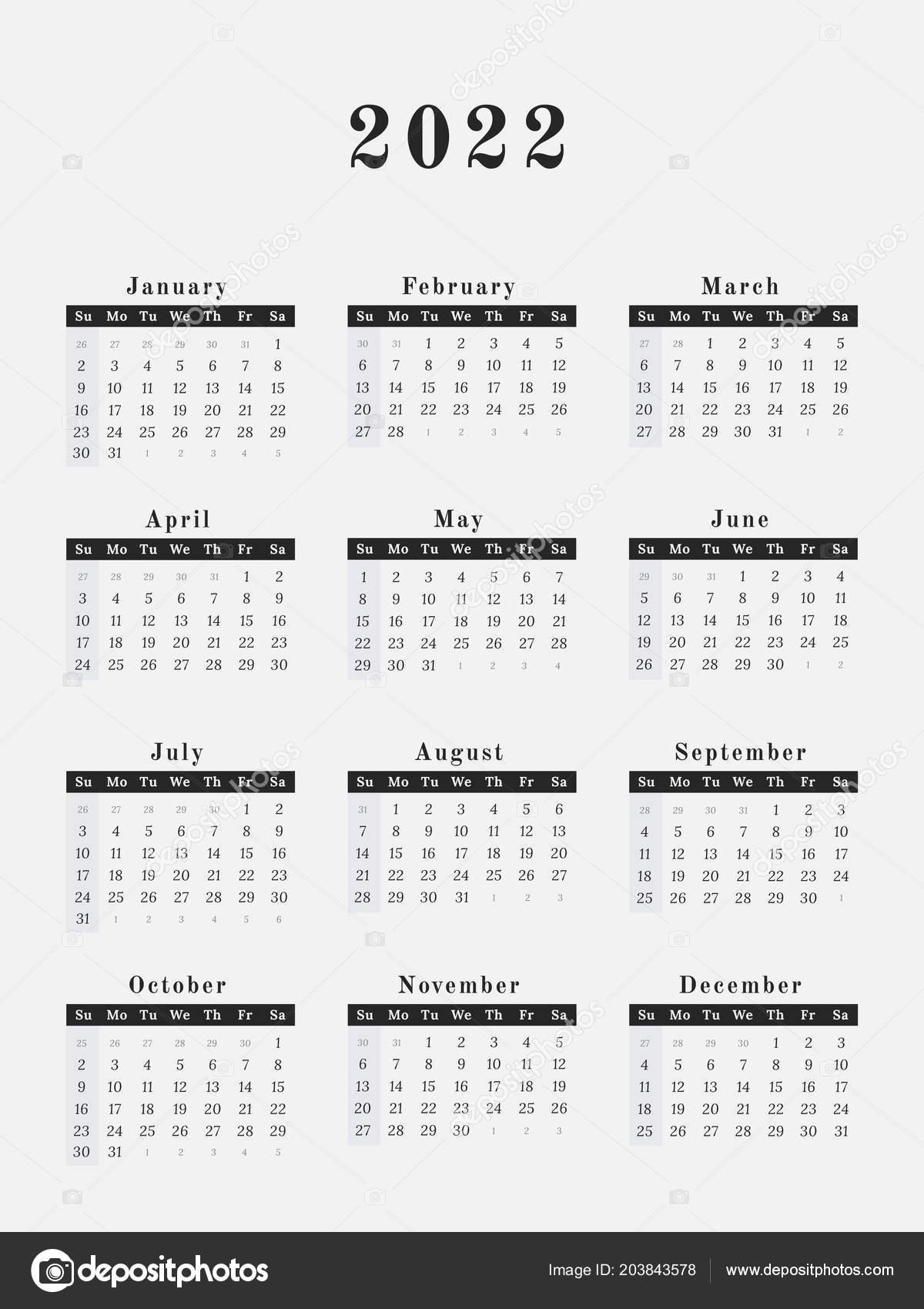Calendar Year 2022.Calendar Year 2022 Vector Illustration Magazine Design Vector Image By C Kerdazz7 Vector Stock 203843578