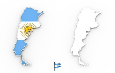 3D map of Argentina white silhouette and flag