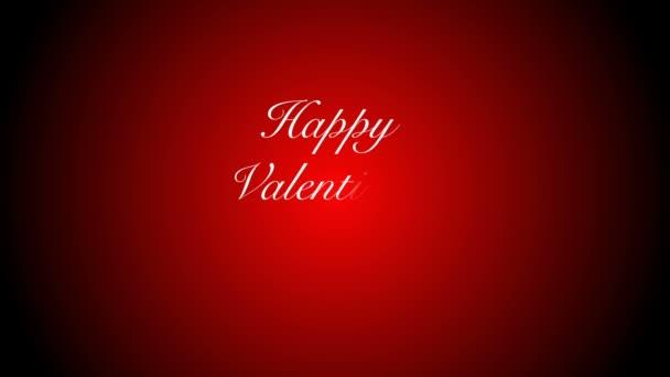 Kis piros szív és a fehér csillagok alá tartozó fekete és piros háttéren, boldog Valentin nap animáció után.