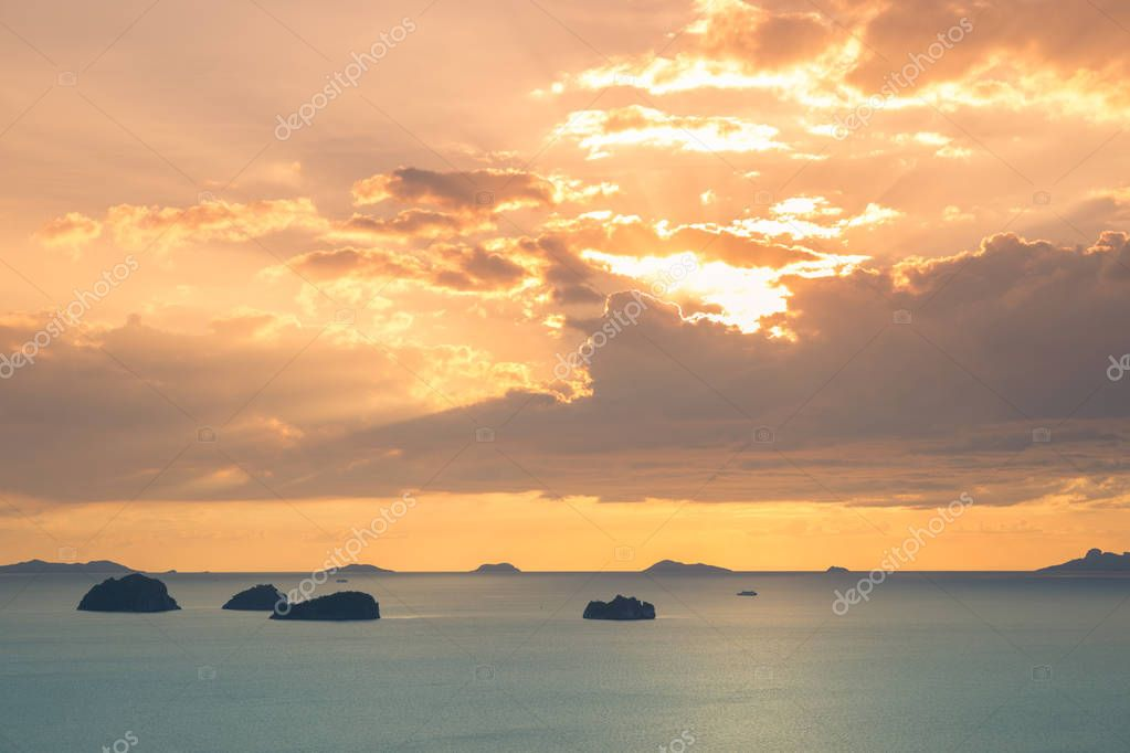 View of angthong islands and the sea in sunset time of Koh Samui island, Thailand