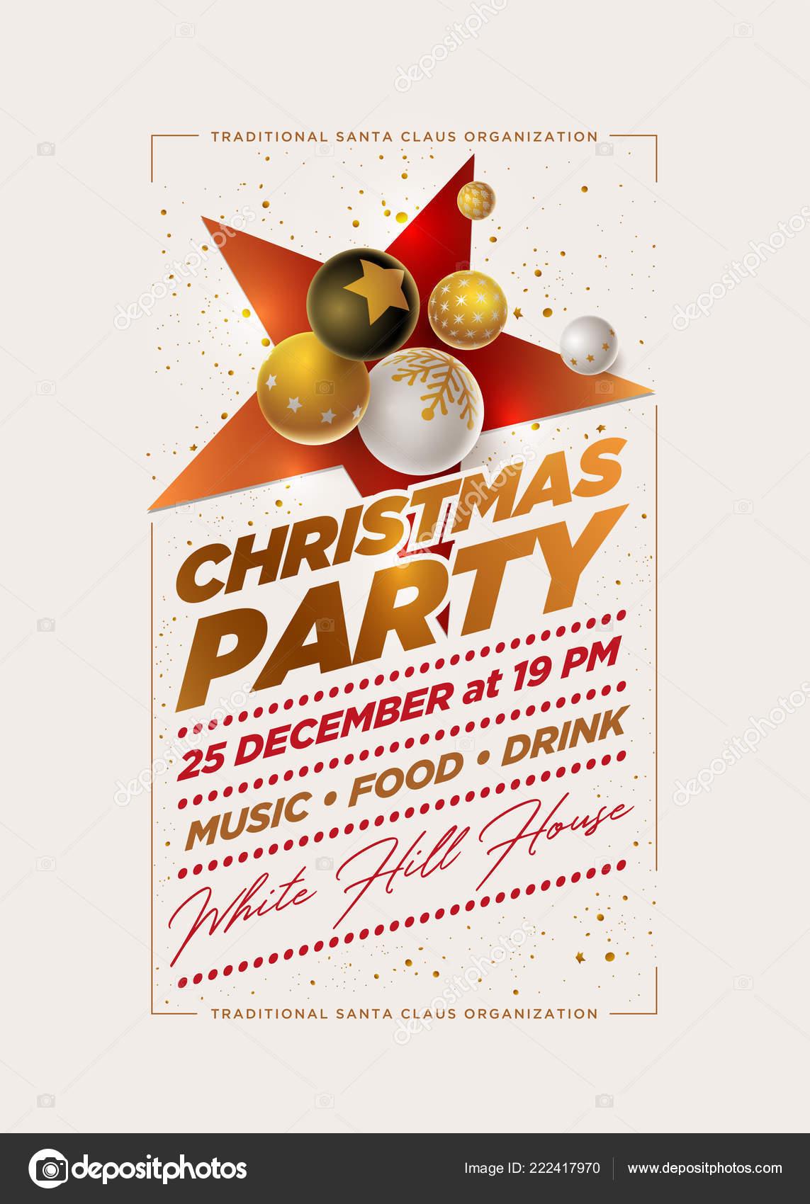 Weihnachtsfeier Plakat.Vektor Weihnachtsfeier Plakat Design Vorlage Mit Weiß Schwarz Und