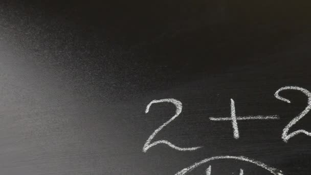 A blackboard chalked with mathematical example for the children. Back to the school concept.
